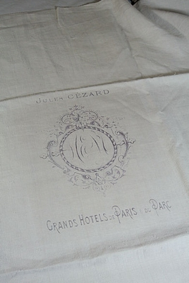 Antique hand woven linen with print
