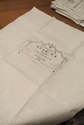 Antiek linnen met print voor stoelbekleding