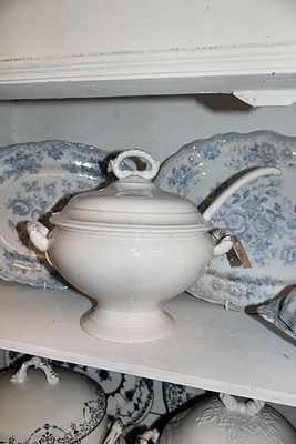French soup tureen with ladle
