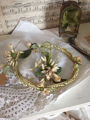 Wax crown and corsage
