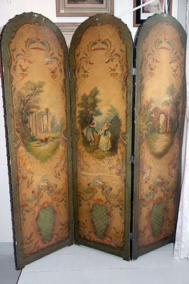 Oil paint folding screen