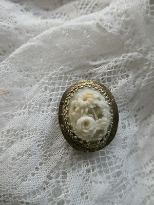 Antique gold and ivory brooch/hanger