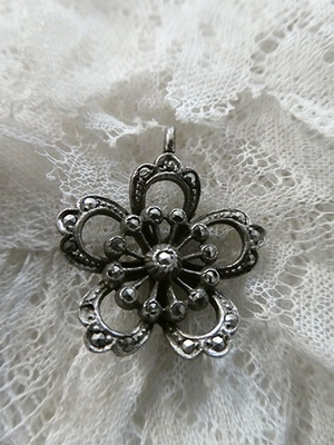 Silver and marcasite hanger